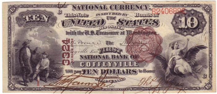 First National Bank of Coffeyville National Currency dollar bill