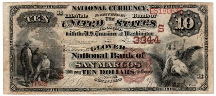 National Bank of San Marcos National Currency dollar bill