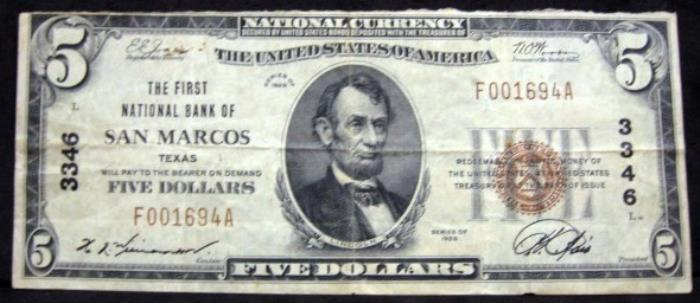 First National Bank of San Marcos (3346) Five Dollar Bill Series 1929