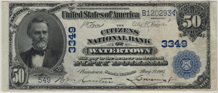 Citizens National Bank of Watertown National Currency dollar bill