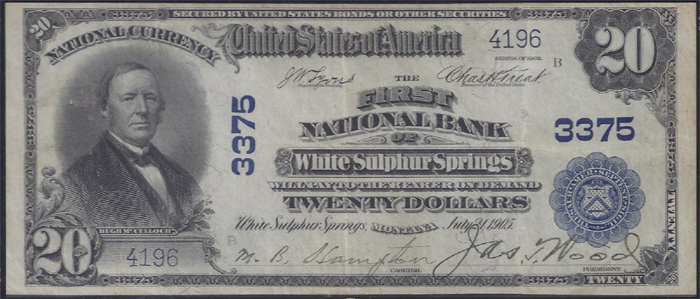 First National Bank of White Sulphur Springs National Currency dollar bill