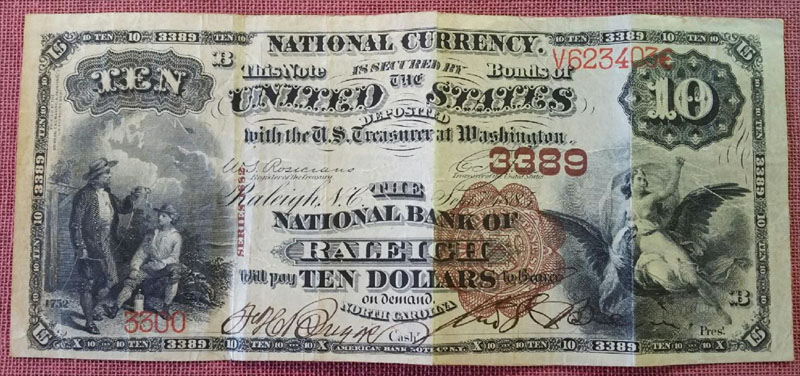 National Bank of Raleigh National Currency dollar bill