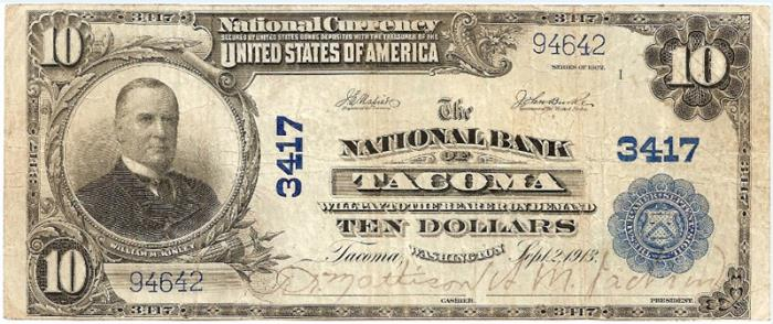 Pacific National Bank of Tacoma National Currency dollar bill