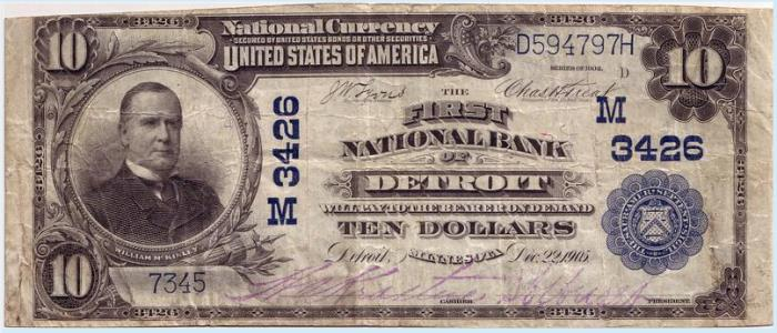 First National Bank, Detroit National Currency dollar bill