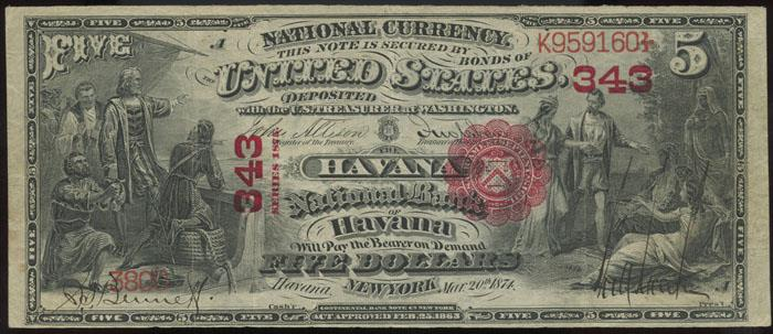 Second National Bank of Havana National Currency dollar bill