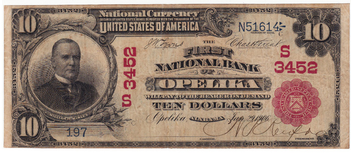 First National Bank of Opelika National Currency dollar bill
