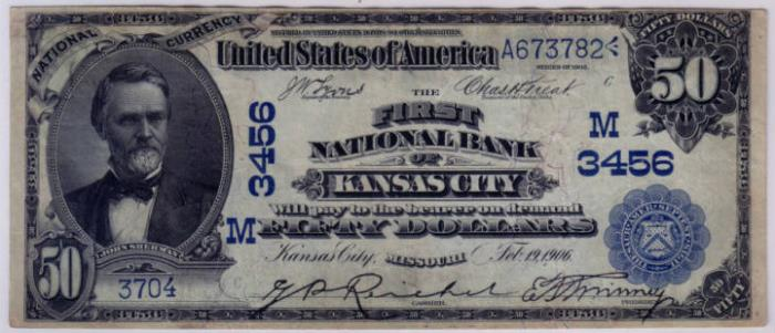 First National Bank of Kansas City National Currency dollar bill