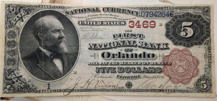 First National Bank of Orlando National Currency dollar bill