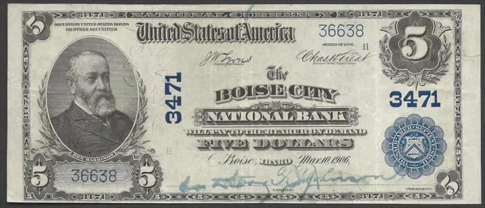 Boise City National Bank, Boise City National Currency dollar bill