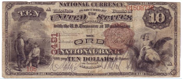 Ord National Bank, Ord National Currency dollar bill
