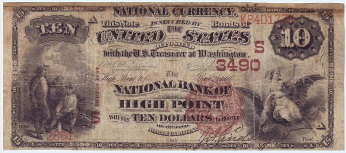 National Bank of High Point National Currency dollar bill