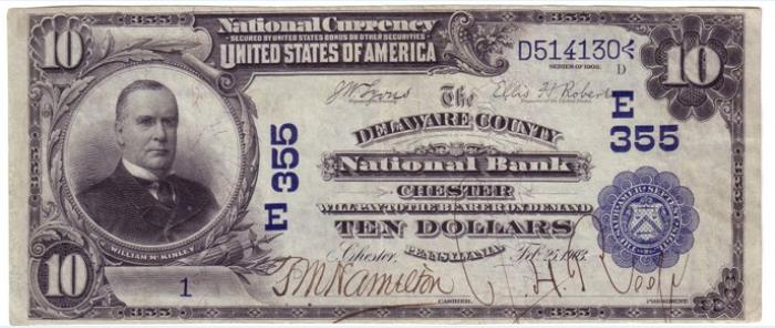 Delaware County National Bank of Chester National Currency dollar bill