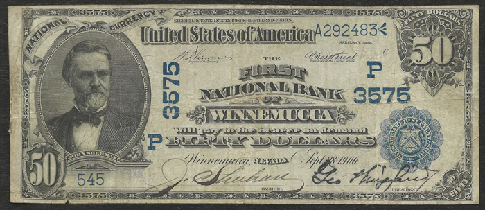First National Bank of Winnemucca National Currency dollar bill