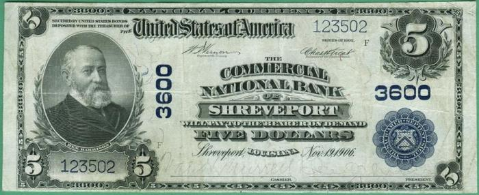Commercial National Bank of Shreveport National Currency dollar bill