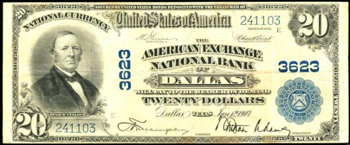 National Exchange Bank of Dallas National Currency dollar bill