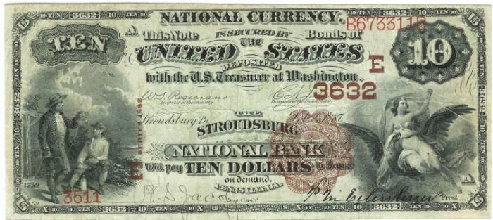 Stroudsburg National Bank, Stroudsburg National Currency dollar bill