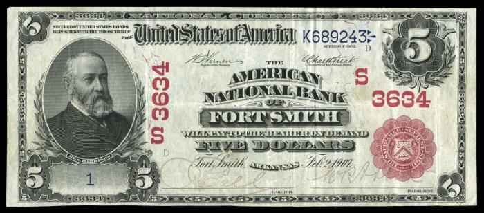 American National Bank of Fort Smith National Currency Bank Note Dollar Bill
