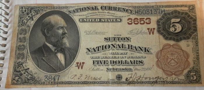 Sutton National Bank, Sutton National Currency dollar bill