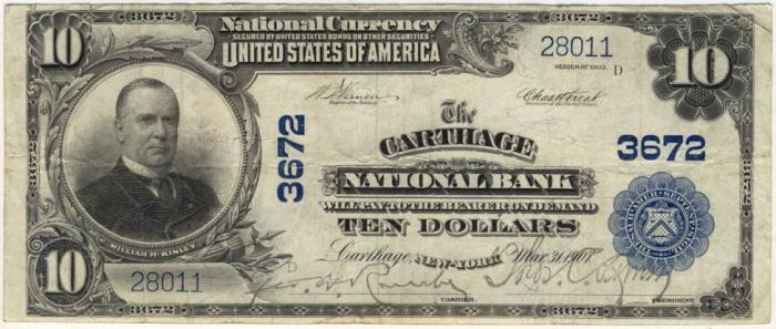 Carthage National Bank, Carthage (3672) Ten Dollar Bill Series 1902 Blue Seal