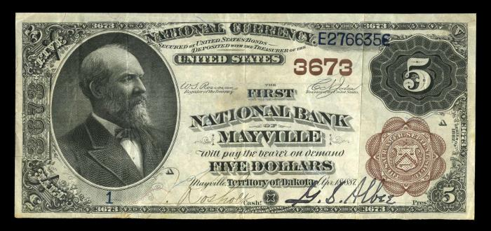 First National Bank, Mayville National Currency dollar bill