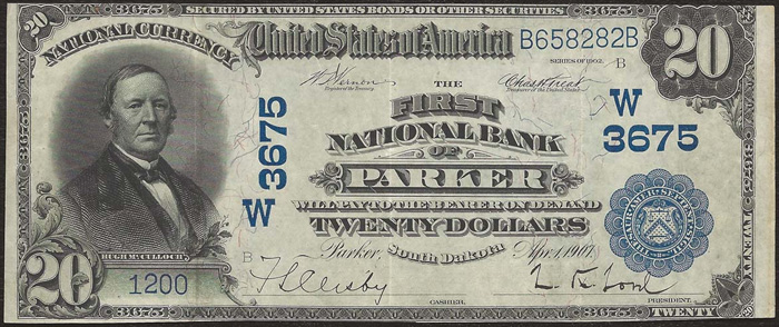 First National Bank of Parker National Currency dollar bill