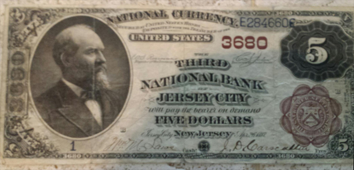 Third National Bank of Jersey City National Currency dollar bill