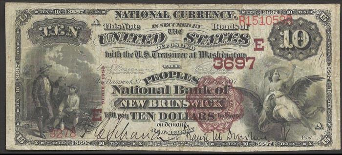 Peoples National Bank of New Brunswick (3697) Ten Dollar Bill Series 1882 Brownback