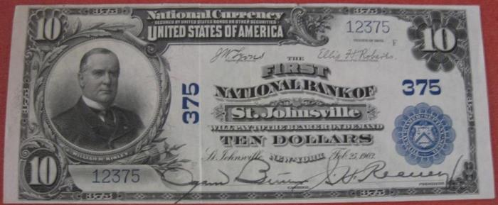 First National Bank of Saint Johnsville National Currency dollar bill