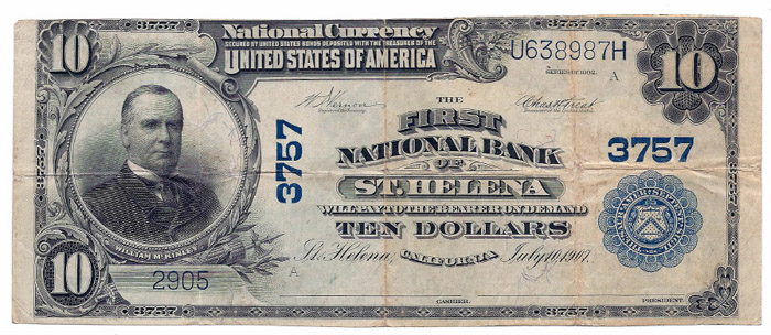 Carver National Bank of St Helena National Currency dollar bill