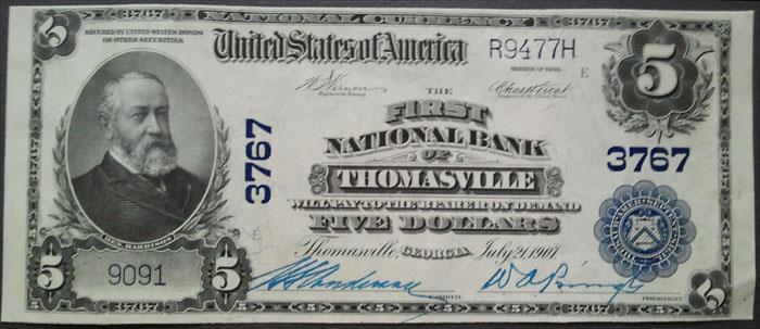 Thomasville National Bank, Thomasville National Currency dollar bill