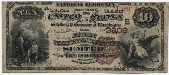 Simonds National Bank of Sumter National Currency dollar bill