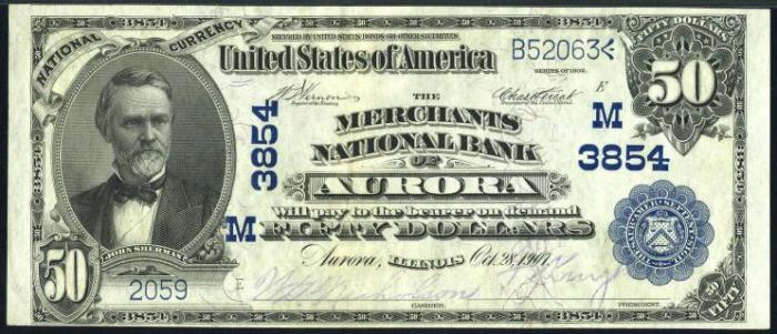 Merchants National Bank of Aurora (3854) Fifty Dollar Bill Series 1902 Blue Seal