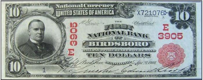 First National Bank of Birdsboro National Currency dollar bill
