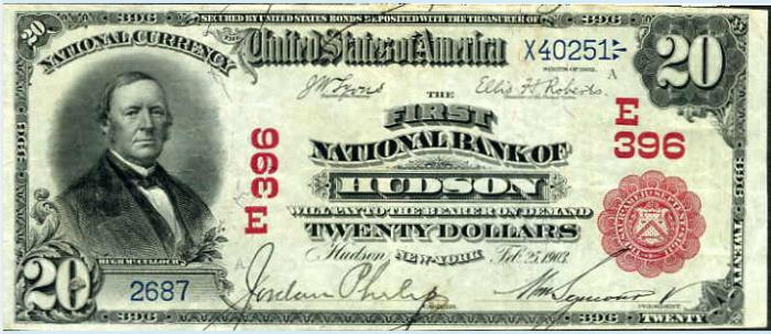 First National Bank of Hudson (396) Twenty Dollar Bill Series 1902 Red Seal