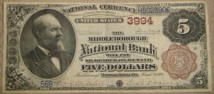 Middleborough National Bank, Middleborough National Currency dollar bill