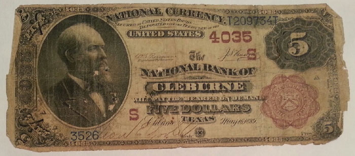 National Bank of Cleburne National Currency dollar bill