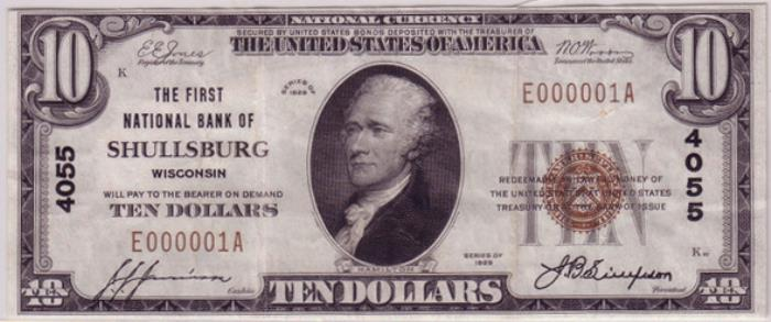 First National Bank of Shullsburg National Currency dollar bill
