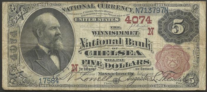 Winnissimet National Bank of Chelsea (4074) Five Dollar Bill Series 1882 Brownback