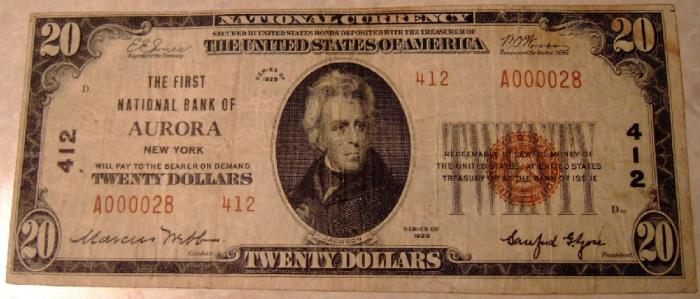 First National Bank of Aurora National Currency dollar bill