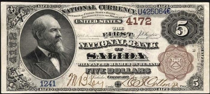 First National Bank of Salida (4172) Five Dollar Bill Series 1882 Brownback