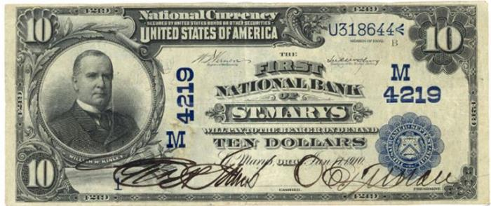 First National Bank of Saint Marys National Currency dollar bill