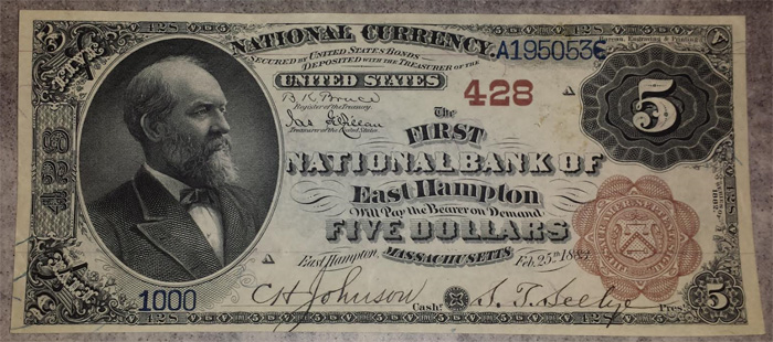 First National Bank of Easthampton National Currency dollar bill