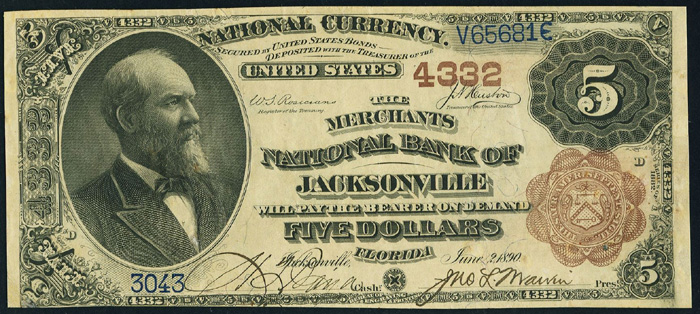 Merchants National Bank of Jacksonville (4332) Five Dollar Bill Series 1882 Brownback