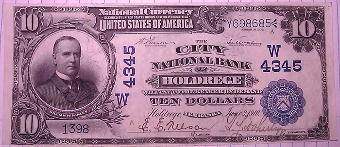 United States National Bank of Holdrege National Currency dollar bill