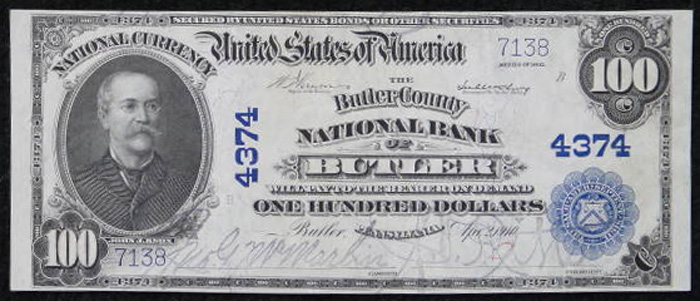 Butler County National Bank of Butler National Currency dollar bill