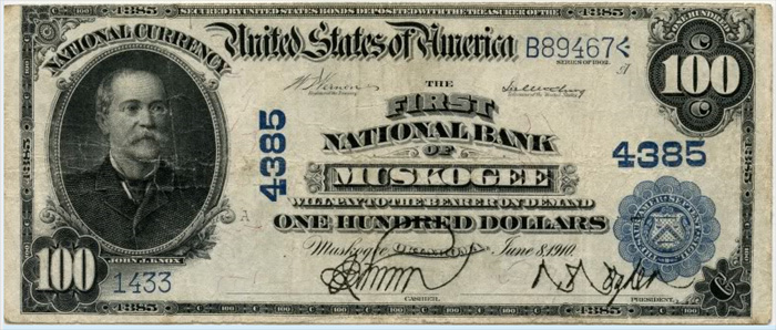 First National Bank of Muscogee National Currency dollar bill