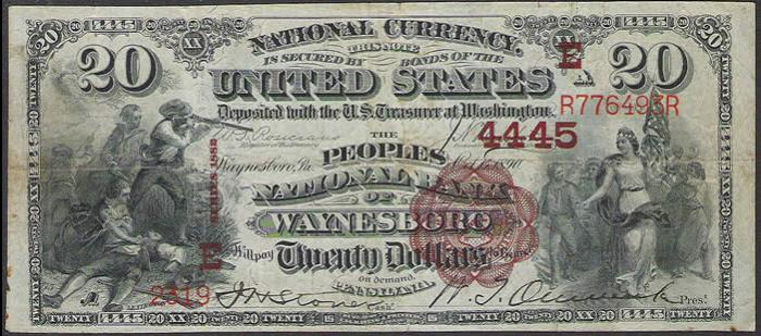 Peoples National Bank of Waynesboro National Currency dollar bill