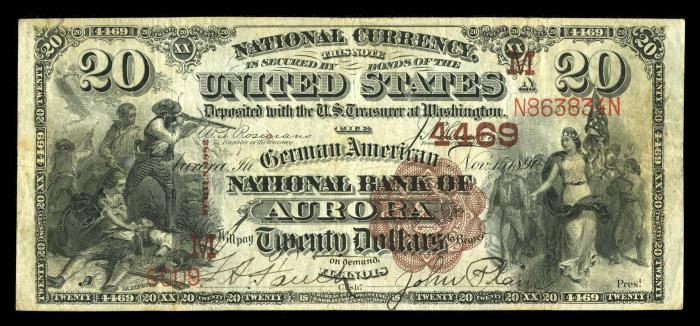 German American National Bank of Aurora National Currency dollar bill