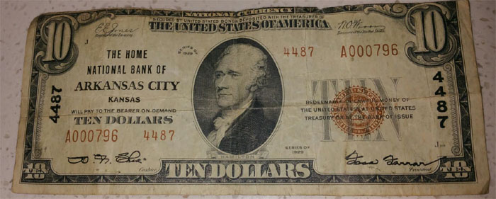 Home National Bank of Arkansas City National Currency dollar bill