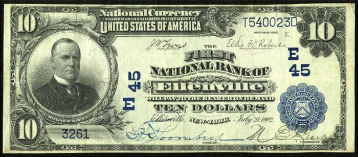 First National Bank of Ellenville National Currency dollar bill